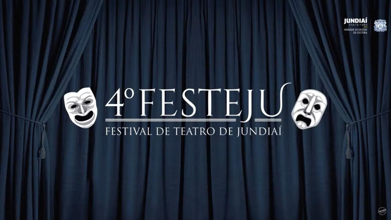 """Arte com cortina azul, com texto """"4º Festeju - Festival de Teatro de Jundiaí"""" e máscaras de teatro"""