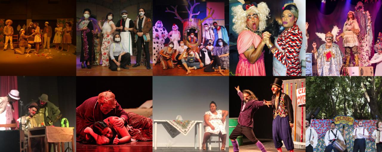 Mosaico de fotos de espetáculos teatrais