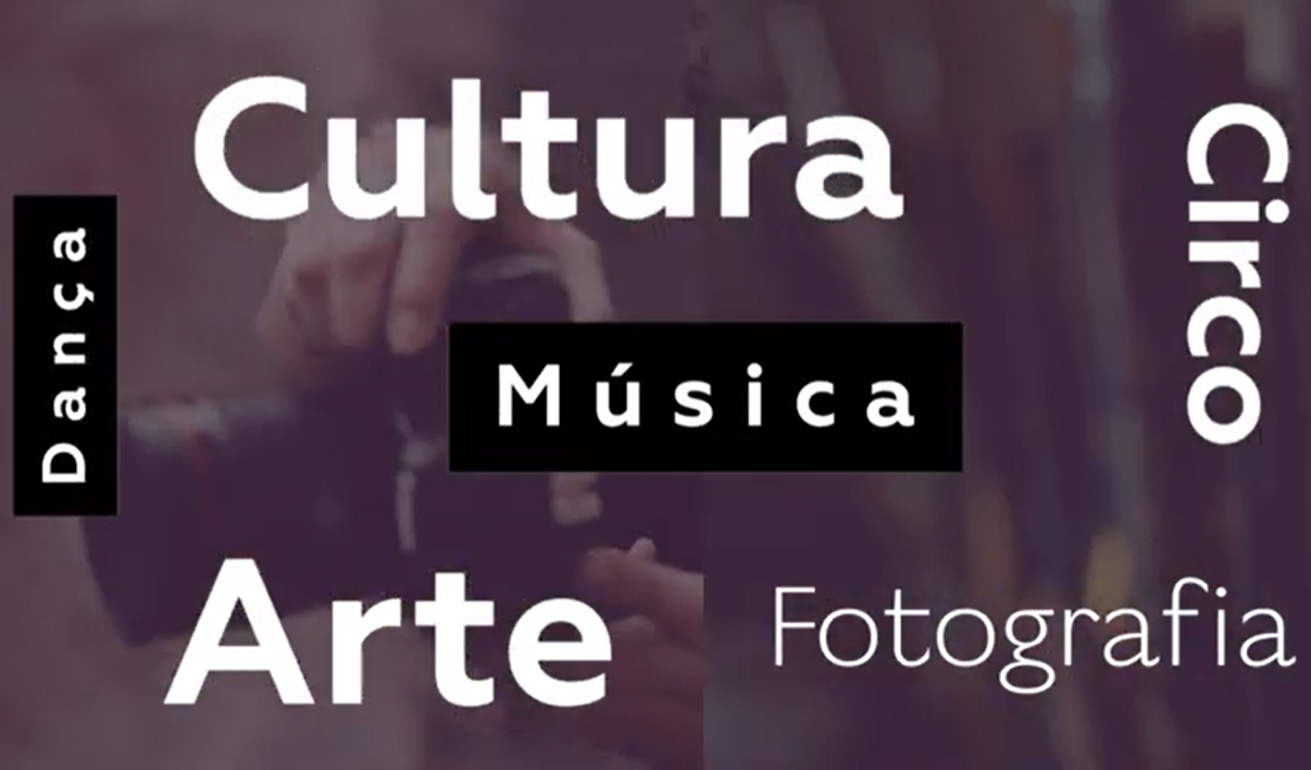 Print de tela de computador com palavras escritas: Cultura, Dança, Música, Circo, Arte, Fotografia