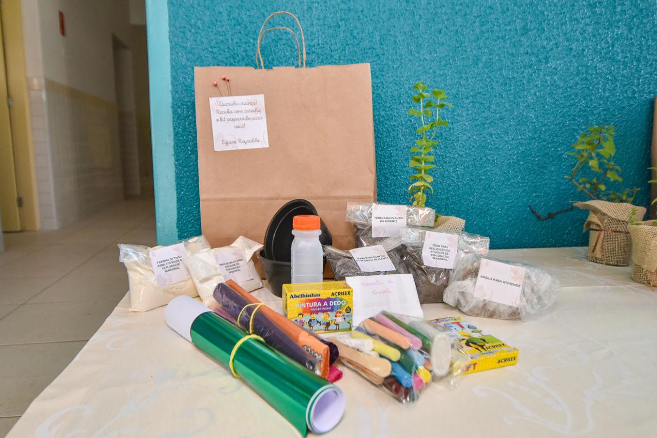 Imagem mostra diversos materiais em cima de uma mesa como saquinhos com terra, farinha de trigo, muda de plantão e giz de cera.