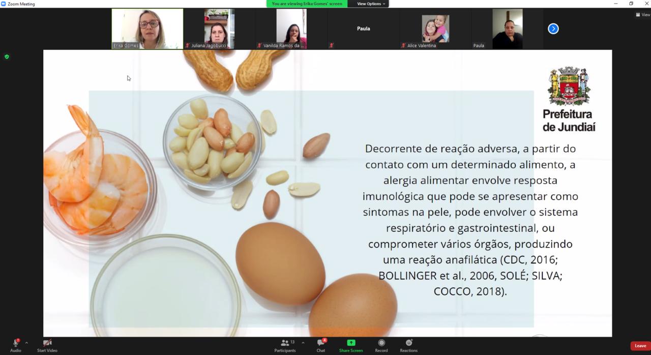 Imagem mostra tela de reunião virtual, com apresentação de slide