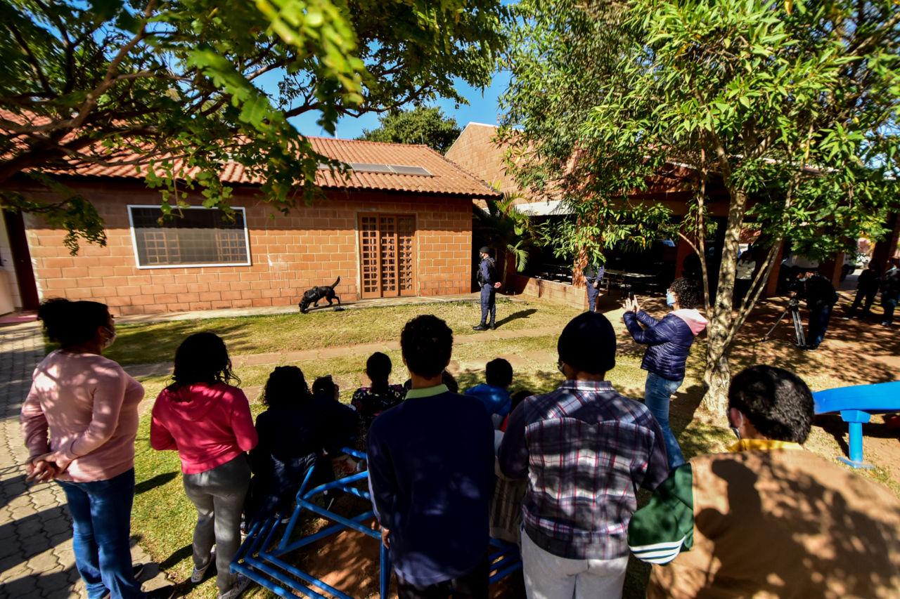 Crianças e jovens de costas assistindo a uma apresentação em um quintal com um guarda com uniforme e um cachorro