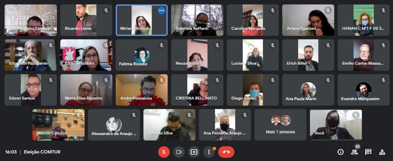 tela de computador com reunião on-line, dividida entre os participantes