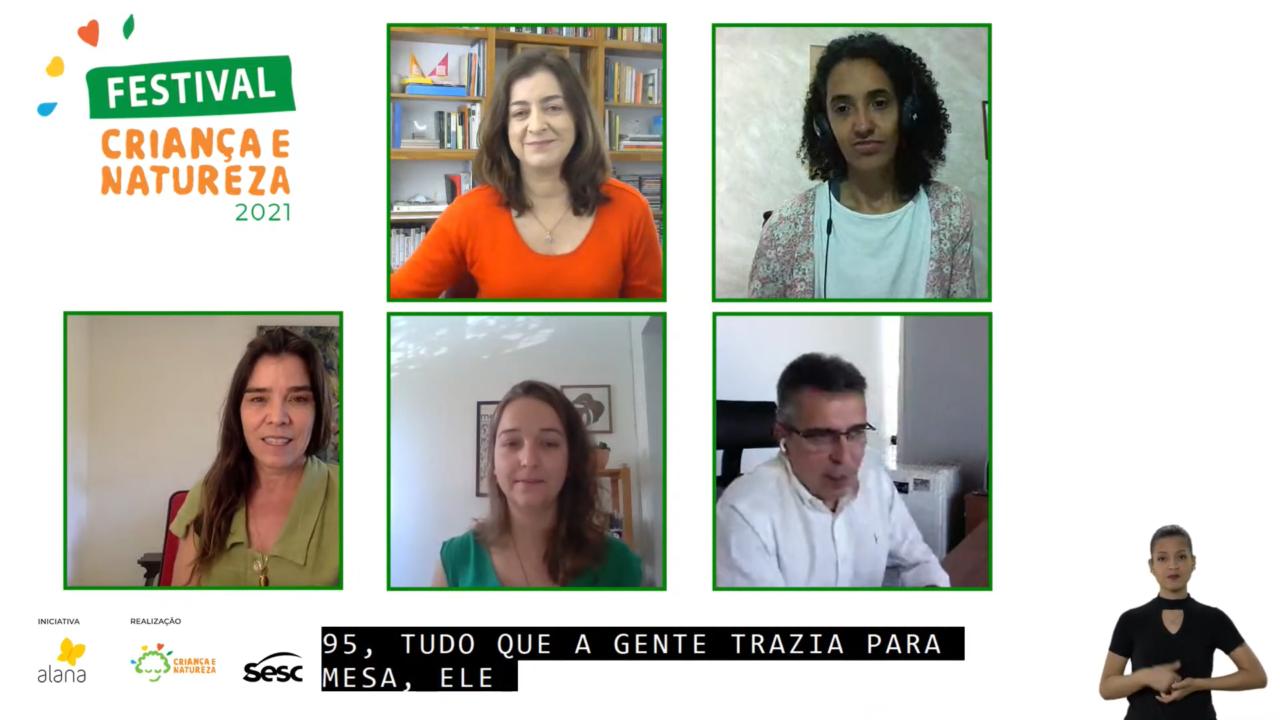 """Imagem mostra tela com seis divisões, cinco com pessoas e uma com o escrito """"Festival Criança e Natureza 2021"""""""