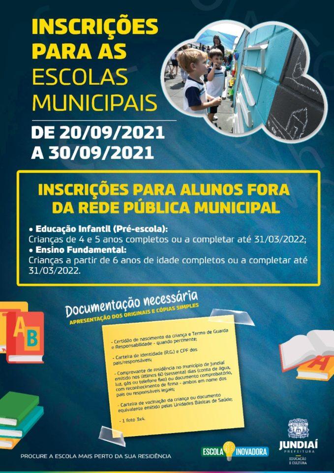 Folder para Inscrições para as escolas municipais.